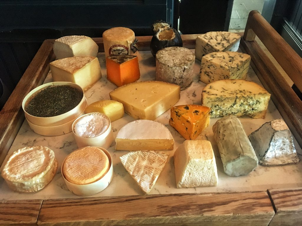 Ever growing cheese trolley! All cheese are from Britain, Ireland and the British Isles... We work closely with Premier Cheese.